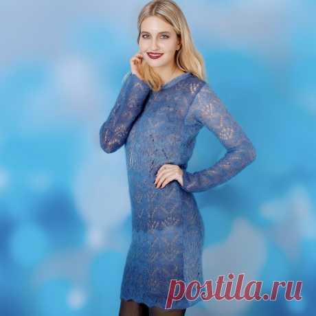 Ажурное мини-платье из мохера - схема вязания спицами. Вяжем Платья на Verena.ru