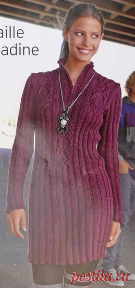 Вязание спицами для женщин Платье - пуловер