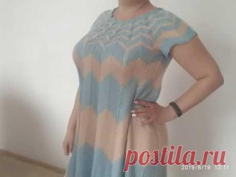 Летнее платье спицами узором зигзаг, миссони