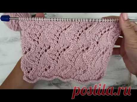 Ажурный узор спицами для вязания топа, майки, кардигана, джемпера. - YouTube