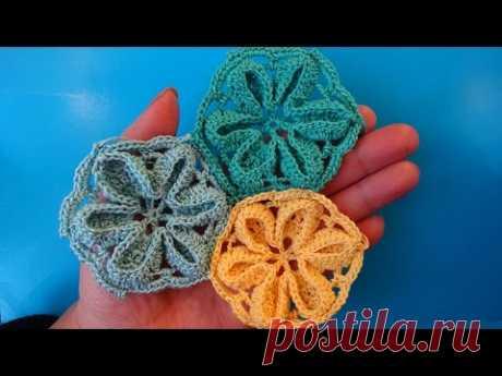 Crochet flower motive Мотив с цветком Вязание крючком Урок 348