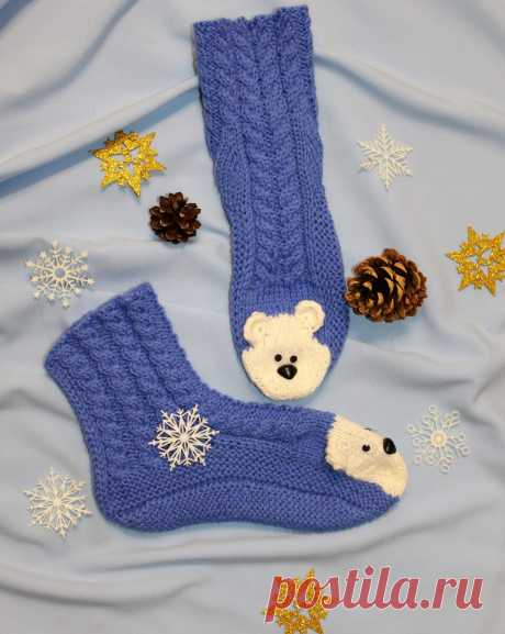 Вяжем детские тёплые носочки с мордочкой медвяжонка!!! Ваш ребёнок будет носить их с большим удовольствием!!!   Клубочек-вязаные изделия   Яндекс Дзен