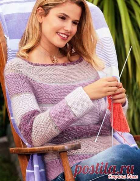 . Пуловер-реглан, связанный сверху цветными платочными полосами - Вязание - Страна Мам
