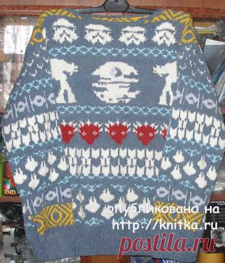 Мужской свитер с жаккардовым рисунком. Работа Елены, Вязание для мужчин