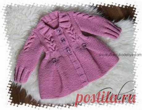 Пальто для девочки Пальто для девочки спицами на пуговицах. Теплое детское пальто с косами спицами