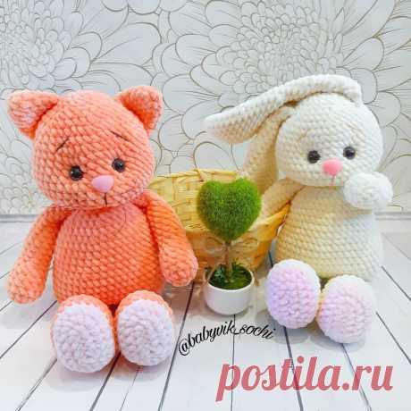 Плюшевые игрушки котик и зайчик крючком   Hi Amigurumi