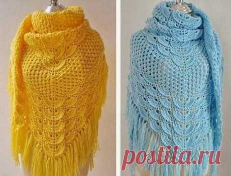 Красивая шаль со схемой вязания #рукоделие@rukodelz