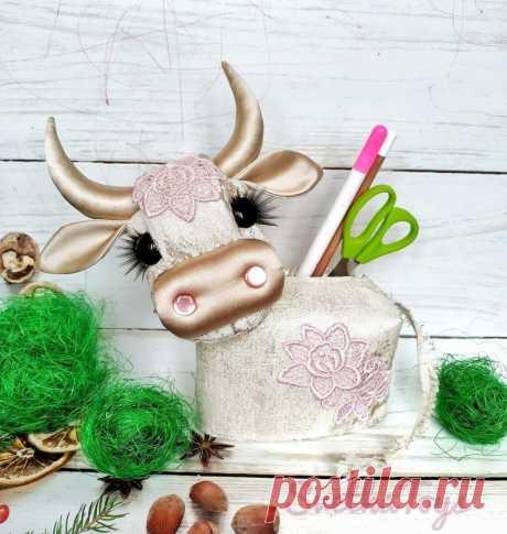 Textile cow Golden calf bull handmade organizer symbol | Etsy