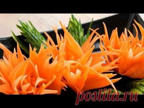 Handmade Carrot Flower | Vegetable Carving Garnish | Food Decoration | Party Garnishing