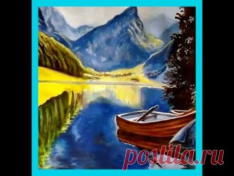 Как нарисовать горный пейзаж с лодкой и озером. Как рисовать гуашью пейзажи