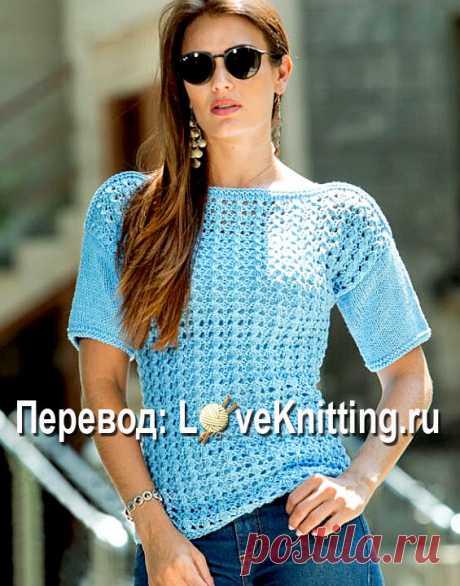 Нежный пуловер с коротким рукавом | ВЯЗАНИЕ - LoveKnitting.ru | Яндекс Дзен