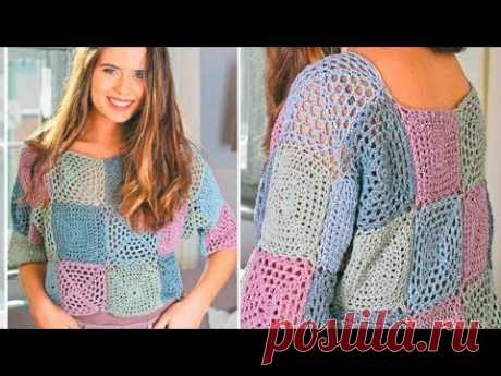 Пуловер из бабушкиных квадратов крючком