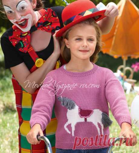 Детский джемпер с жаккардовым узором «Лошадка» - Modnoe Vyazanie ru.com