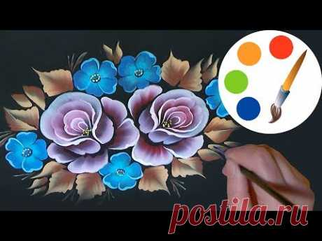 How to paint Roses in 30 minutes, One Stroke, irishkalia