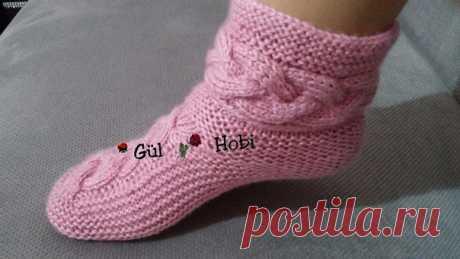 Красивые носки с косами мастер класс. Связать носки на двух спицах |