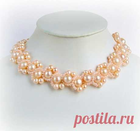 Free pattern for beaded necklace Peach Delight   Beads Magic