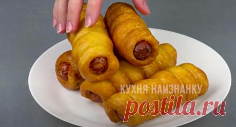 """Мои знаменитые сосиски в тесте: проще рецепт и придумать сложно (а результат всегда на """"отлично"""", все друзья уже так готовят)   Кухня наизнанку   Яндекс Дзен"""