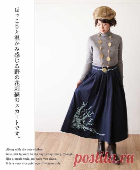 【楽天市場】【再入荷♪2月26日12時&22時より】(ネイビー)「mori」連なる野の花スカート:cawaii