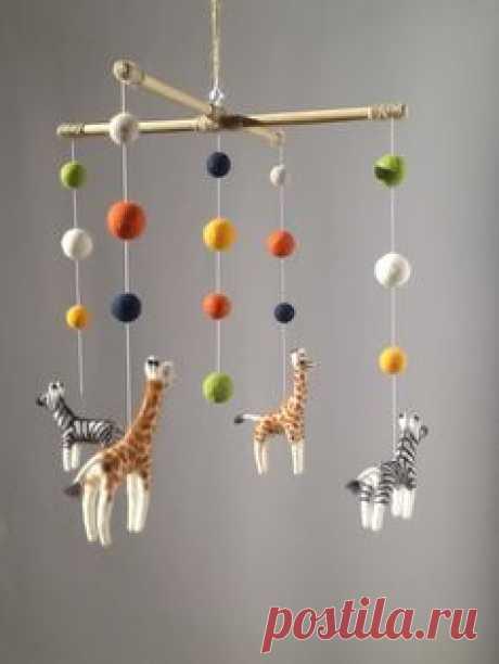 Needle felted Safari baby mobile African Animal nursery