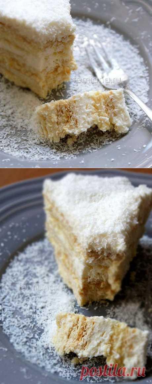 Кокосово-ананасовый торт из печенья без выпечки - очень вкусно и просто | FEMIANA