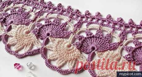 Красивая кайма крючком #crochet #вязание_крючком #кайма_крючком