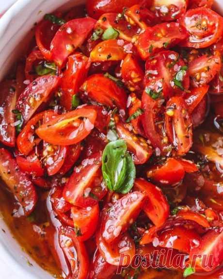 Помидоры черри в маринаде с базиликом — Sloosh – кулинарные рецепты