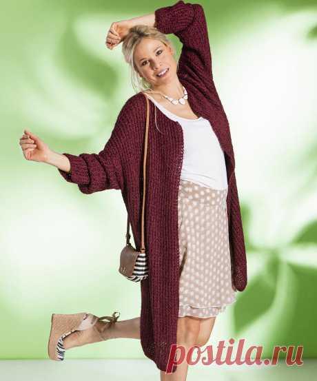 Бордовое легкое пальто - схема вязания спицами. Вяжем Пальто на Verena.ru