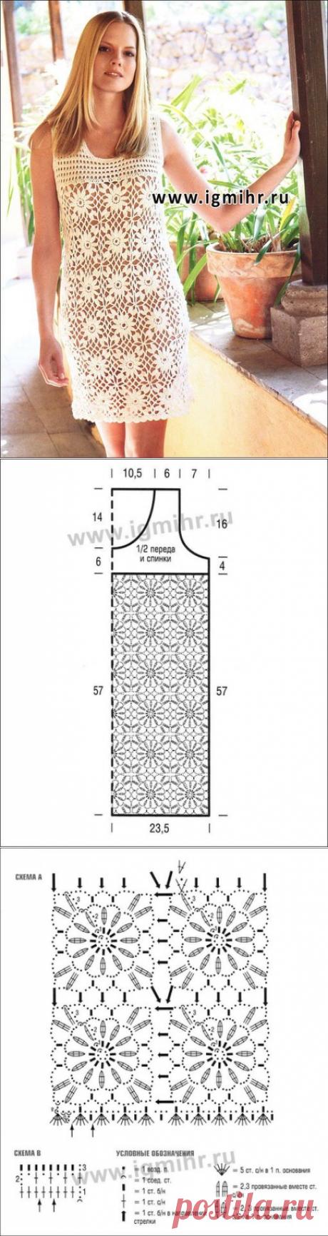 Летнее мини-платье из квадратных  цветочных мотивов. Крючок  Размер: 42/44   Вам потребуется: 350 г кремовой пряжи Lana Grossa Elastico (96% хлопка, 4% полиэстера, 160 м/50 г); крючок № 4.