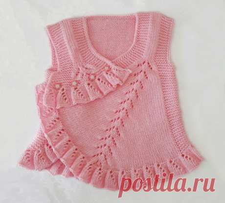 Нарядная жилетка спицами для девочки. Описание. | Блог про вязание | Яндекс Дзен