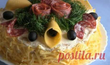 """Закусочный торт """"Наполеон"""" - пошаговый рецепт с фото на Повар.ру"""