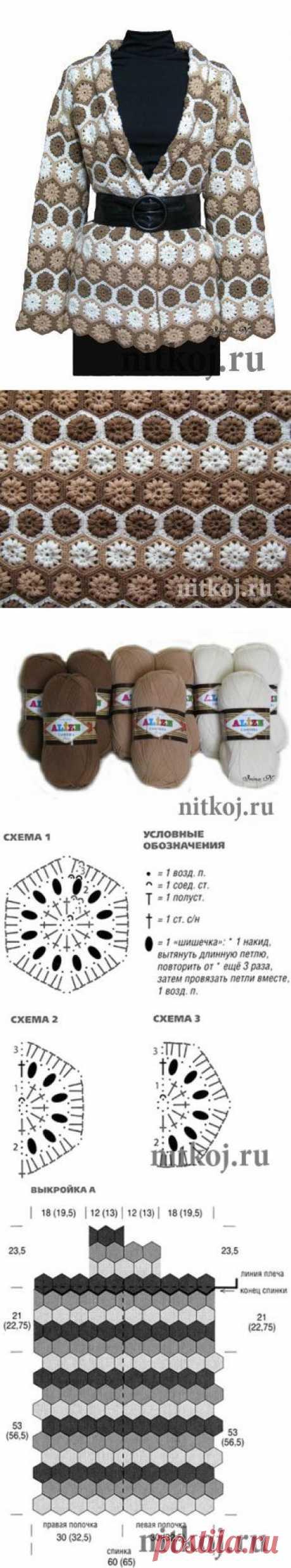 Шикарный кардиган крючком из мотивов » Ниткой - вязаные вещи для вашего дома, вязание крючком, вязание спицами, схемы вязания