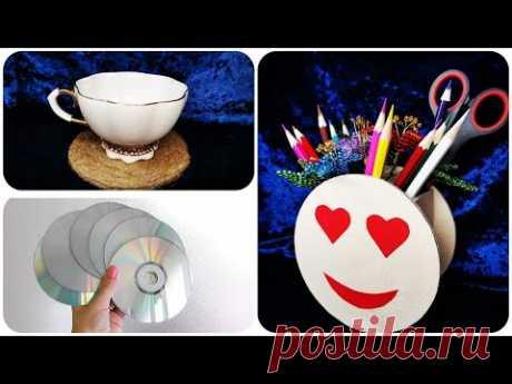 5 ИДЕЙ поделок из CD ДИСКОВ своими руками | 5 ideas Waste CD Craft - Art Ideas