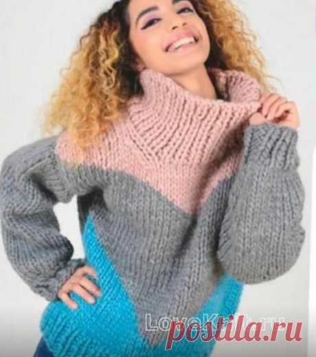 Трехцветный свитер крупной вязки схема спицами » Люблю Вязать