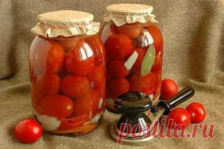 Como preparar los tomates en la marinada agridulce para el invierno - Hortalizas para el invierno. ¡1001 COMIDA las recetas sabrosas de la foto!