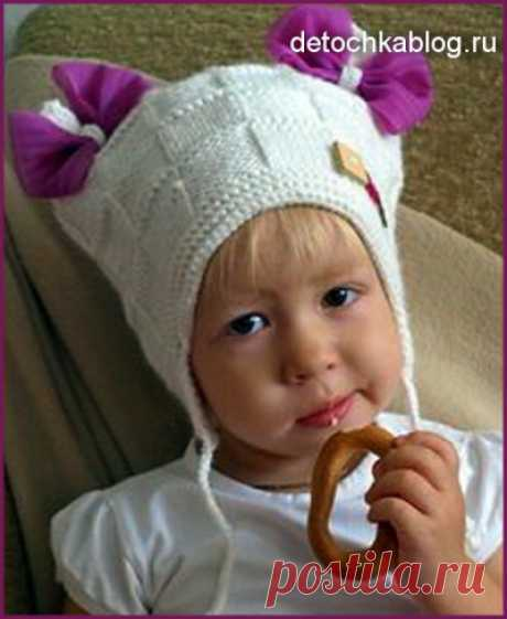 Вязаная шапочка с бантиками для девочки - Вязание шапок и шарфов для девочек - Вязание девочкам - Вязание для малышей - Вязание для детей. Вязание спицами, крючком для малышей
