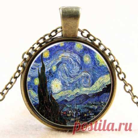"""Ожерелье с подвеской: картина Ван Гога """"Звездная ночь"""" (AliExpress)"""