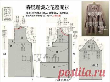 Блузка в стиле бохо, выкройка на размеры S, M, L, LL. #простыевыкройки #простыевещи #шитье #блуза #выкройка #туника #бохо