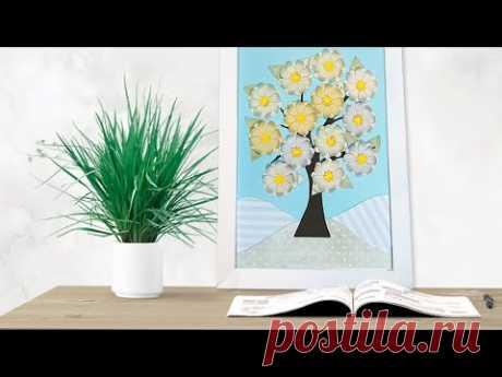 💗 Панно из бумаги | декор интерьера | Как просто сделать красивое панно с бумажными цветами.