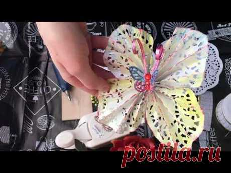 Бабочки из ажурных салфеток. Мастер-класс. - YouTube