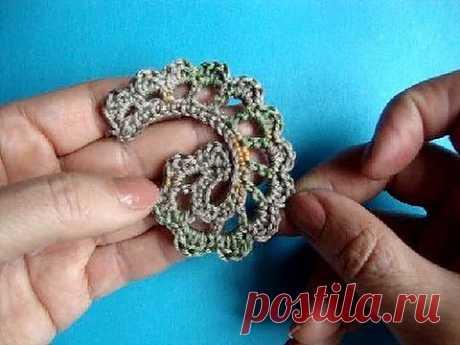 ▶ Вязание крючком ирландского кружева Урок 306 Howto Crochet Irich lace leafe - YouTube