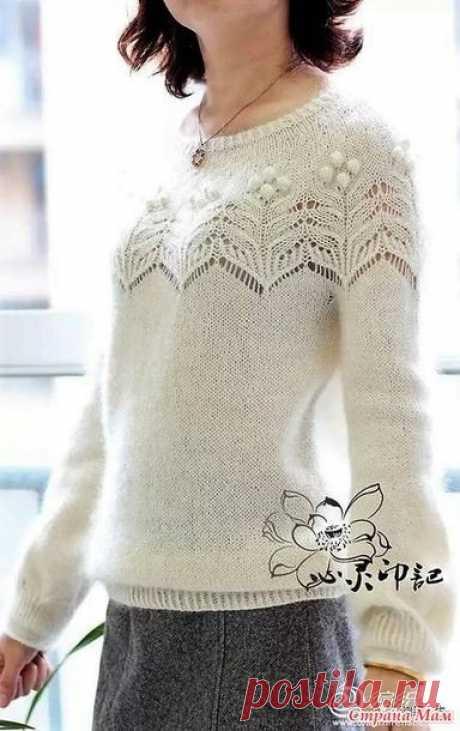 Пуловер с круглой кокеткой(основные узоры). Спицы.