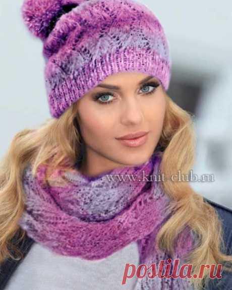 Вяжем комплект из шапки и шарфа спицами. .Схема вязания Описание.  Для модели, представленной на фото, была использована шерстяная пряжа с добавлением мохера и альпаки.  Размеры вязаной шапки: 54-56 см Высота: 23 см без помпона.  Для вязания шапки спицами вам потребуется: 50 г серо-розовой пряжи Lace Pearls Lana Grossa (30% мериносовой шерсти, 18% бэби альпака, 18% мохера суперкид, 26% полиамида, 8% стекловолокна, 137 м/ 25 г); набор чулочных спиц № 3,5 и 4. Резинка 1х1: 1...