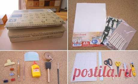 Шкатулка-органайзер для мелочей из картона. Пошаговая инструкция. Картонаж - популярная техника, известная очень давно. Все материалы для таких коробок найдутся дома. Коробки можно даже попросить в магазине. Я беру на работе в офисе из-под оргтехники. Ткани - ветошь. рукоделие, мастер-класс,хобби,полезные советы,сделай сам,поделки,картонаж,поделки из картона,дома нескучно,своими руками,шкатулка своими руками
