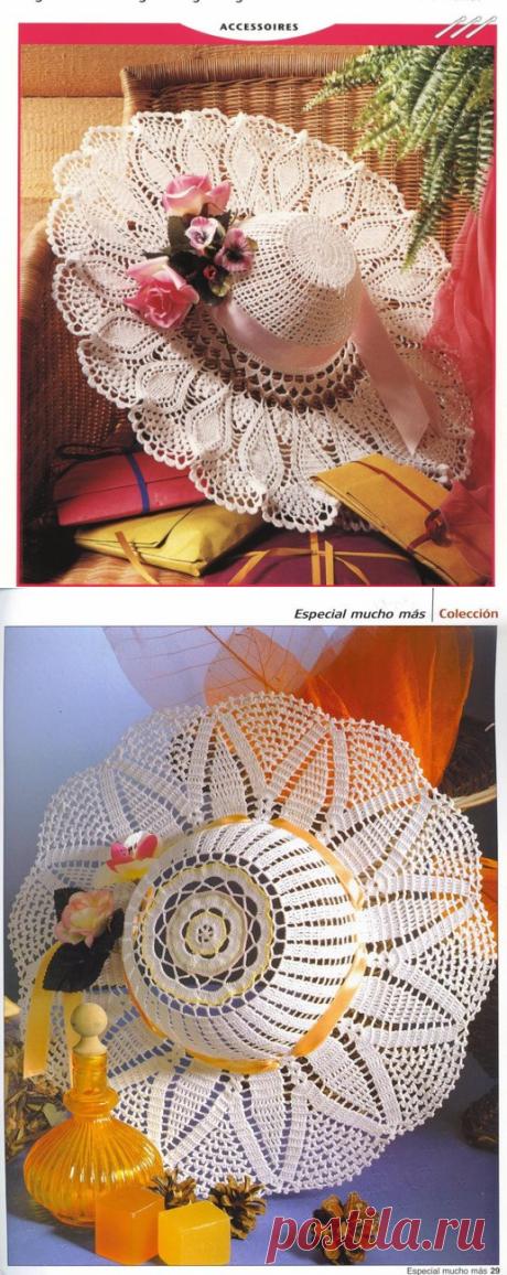 Летние шляпы с широкими полями, связанные крючком, схемы прилагаются   Рукоделие