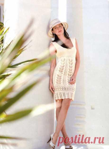 Платье «Донелла» создающее эффект длинных ног спицами – схема вязания с описанием
