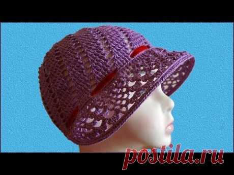 Шляпка а-ля капор. Шапка капор. Шляпка крючком. Шляпка для девочки. Шапка крючком. (hat crochet)