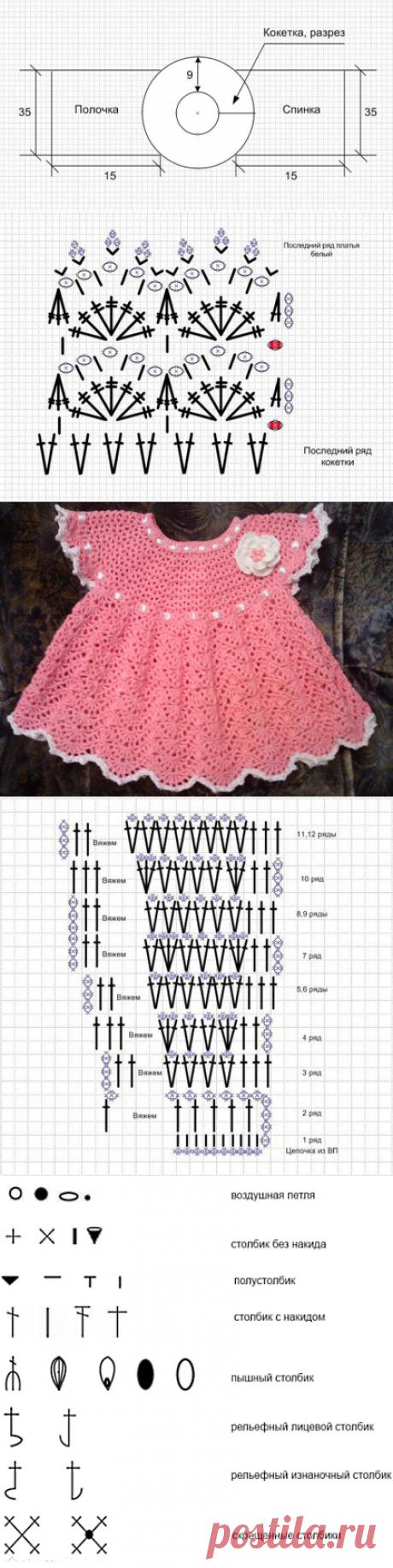 Вязаное ажурное платье крючком для девочки.