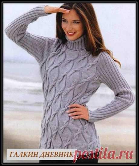 Женский свитер спицами с узором из кос