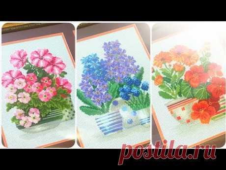 Готовы и оформлены цветы от Риолис!/вышивка крестом