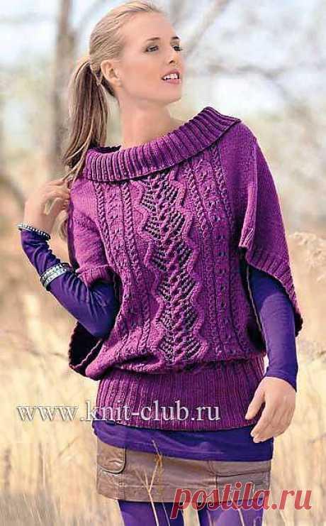 Узорчатый пуловер-пончо.